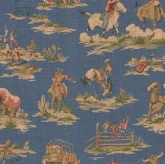 Waverly western fabric COWBOYS & INDIANS Wild West on Blue - Treasury Item. $14.99, via Etsy.