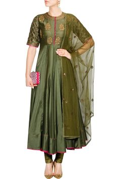 Radhika Airi presents Olive green embroidered anarkali set available only at Pernia's Pop Up Shop. Indian Wedding Outfits, Indian Outfits, Wedding Dress, Indian Attire, Indian Wear, Salwar Kameez, Churidar, Indian Designer Outfits, Designer Dresses