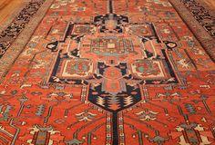 antique persian heriz serapi rug 48632 field Nazmiyal
