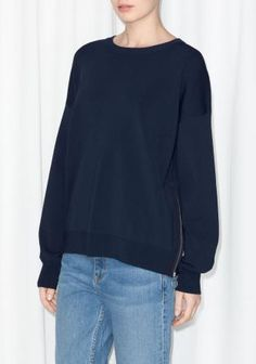 & Other Stories | Zip Detail Sweater | Blue  #sweater #covetme