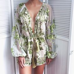Autumn Sexy Women V Neck Sequins Jumpsuit Mesh Long Sleeve Clubwear Green Black Gold Party Rompers 2017 Brands Playsuit Overalls Sequin Playsuit, Mesh Jumpsuit, Bodycon Jumpsuit, Sequined Skirt, Boho Romper, Red Romper, Lightin The Box, Vestidos Sexy, Mesh Long Sleeve