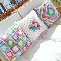 Crochet Afghans Set of 3 crochet cushion covers, handmade cotton and natural wool blanket - Crochet Cushion Cover, Crochet Pillow Pattern, Crochet Motifs, Crochet Cushions, Crochet Squares, Crochet Patterns, Granny Squares, Crochet Afghans, Blanket Crochet