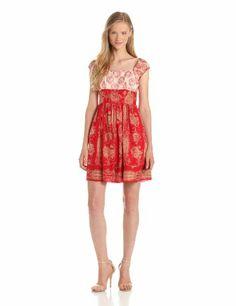 Anna Sui Women's Wallpaper Toile Print Voile Dress, Poppy Multi, 0
