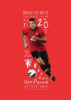 Robin Van Persie Manchester United Print door KieranCarrollDesign