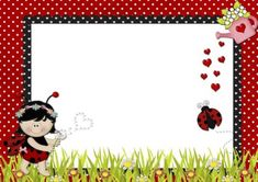 21 Convites de Joaninha para Festa no Jardim – Modelos de Convite Page Borders Design, Border Design, Free Design, First Birthday Invitations, Birthday Cards, Preschool Name Tags, Little Girl Cartoon, Fingerprint Art, Bug Crafts