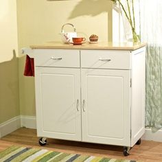 Large Kitchen Cart with Wood Top, Multiple Finishes, White Kitchen Storage Cart, Kitchen Cart, Kitchen Helper, Kitchen Island, Kitchen Ideas, Kitchen Decor, Kitchen Design, Kitchen Cabinets, Stacked Pots