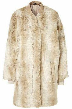 TOPSHOP Ladies Cream Rich Faux Fur Shaggy Zip Through Jacket Coat NEW Size M 12