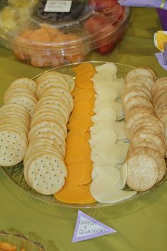 Cheese quackers @ Janell's purple and yellow duck theme baby shower. Duck cookie cutter for cheese.
