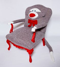 DIY Sock Monkey Chair on Ravelry -- cute for kids bedroom or sock monkey theme nursery. Funky Furniture, Unique Furniture, Painted Furniture, Eclectic Furniture, Love Chair, Sock Animals, Clay Animals, Monkey Business, Take A Seat