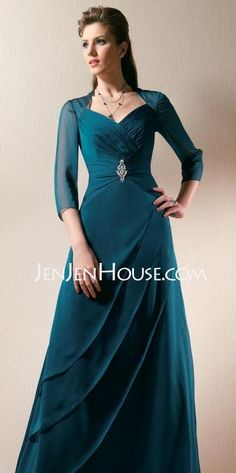Mother of the Bride Dresses - $165.99 - A-Line/Princess Sweetheart Floor-Length Chiffon  Satin Mother of the Bride Dresses With Ruffle  Beading (008005695) http://jenjenhouse.com/A-line-Princess-Sweetheart-Floor-length-Chiffon--Satin-Mother-Of-The-Bride-Dresses-With-Ruffle--Beading-008005695-g5695