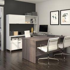 Bestar Pro Linea U Shaped Desk With Hutch 120880