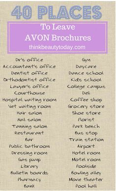 Places to Leave Avon Brochures and Business Cards. Avon Selling Ideas and Tips for Representatives.