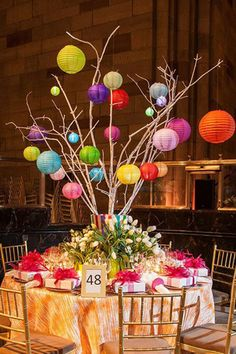 Small colored lanterns on branches. Thomas Burak Interiors' and Michael Devine's fun table at the Lenox Hill Neighborhood House gala Asian Party, Lenox Hill, Table Top Design, Cool Tables, Chinese Lanterns, Paper Lanterns, Hanging Lanterns, Decoration Table, Bar Mitzvah