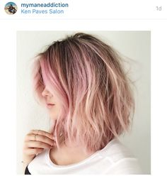 Pink and blonde girl Pastel faded lob messy