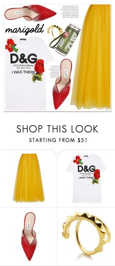 """""""Stay Golden: Dressing in Marigold"""" by paculi ❤ liked on Polyvore featuring Rochas, Dolce&Gabbana, Attico, Maria Black, Anya Hindmarch and marigold"""