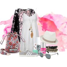 Blushing! by salle007 on Polyvore featuring polyvore fashion style Topshop Pussycat adidas Originals House of Holland Mudd Lilly Pulitzer Oasis Violeta by Mango Ray-Ban Essie Aéropostale