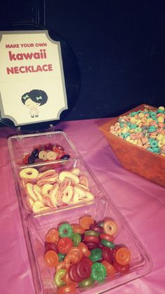 diy candy necklace station, great to have for sleepovers and parties!