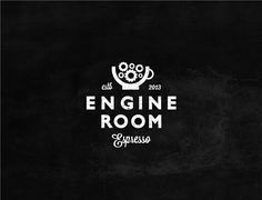 Cafe logo by kalli_ for Engine Room Espresso. A coffee mug houses clockwork gears and machinery in this black and white seal. #classic #steampunk #branding