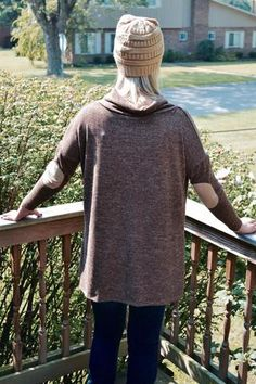 Heather Knit Cowl Neck Long Sleeve Top