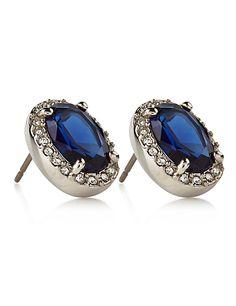 M&s Collection Platinum Plated Regal Diamanté Stud Earrings