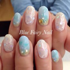 かわいいネイルを見つけたよ♪ #nailbook Beachy Nail Designs, Gel Manicure Designs, Beautiful Nail Designs, Nail Art Designs, Sand Nails, Glue On Nails, Bling Nails, Diy Nails, Love Nails