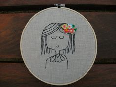 The flower girl Embroidery Hoop Art /  Embroidery Hoop Art, Christmas gift, Cute embroidery hoop art