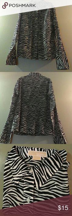Women's MK long-sleeved see thru button down shirt Mint condition MK women's dress shirt Michael Kors Tops Button Down Shirts