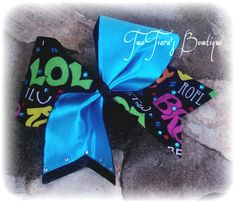 Custom texting words Cheer Bow with rhinestones by Two Tiara's Bowtique on Etsy or Facebook group tick tock bow cheer, dance, practice