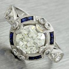 1920s Antique Art Deco Platinum 1.39ct Old European Cut Diamond Engagement Ring - 2