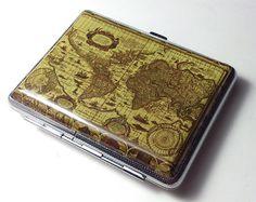 Vintage Antique  World Map Cigarette Case Wallet Card Holder