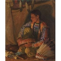 Artwork by Joseph Henry Sharp, Hunting Son (Firelight), Made of oil on canvas kp
