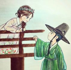 Drama Moonlight drawn by clouds Cute Couple Art, Anime Love Couple, Cute Love Cartoons, Cute Cartoon, Cartoon Drawings, Cute Drawings, Love In The Moonlight Kdrama, Anime Chibi, Anime Art