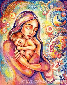 Mother child painting, mother art, mothers love, n Mother And Child Painting, Painting For Kids, Mother And Baby Paintings, Birth Art, Pregnancy Art, Mothers Love, Nursery Wall Art, Oeuvre D'art, Fantasy Art