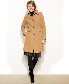 Kenneth Cole Reaction Wool-Blend Point-Collar Walker Coat - Coats - Women - Macy's