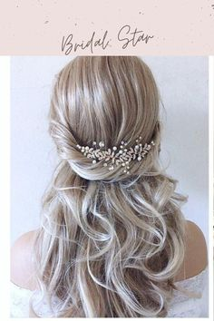 glamour to your hairstyle with this stunning crystal and pearl bridal hair vine in silver or gold. As the hair piece is flexible it can be worn at the front ,back or side of your hair and can be twisted into shape with Bobby pins to suit any hairstyle. The bridal headpiece is 5 inches long and can be secured to your hair with 2 combs on each end or wire Loops which your hairdresser can use Bobby pins to attach to your preferred hairstyle. Whether tucked into an updo, paired with a veil, or l Wedding Hair Clips, Wedding Hair Down, Wedding Hair Pieces, Boho Wedding, Star Wedding, Wedding Dress, Crystal Wedding, Wedding Things, Wedding Stuff