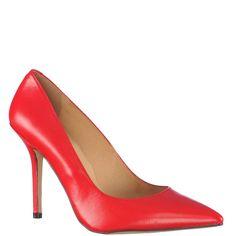 Pantofi Stiletto cu toc inalt de dama, din piele naturala, culoare rosie. Interior din piele naturala. Inaltimea tocului este de 11 cm.