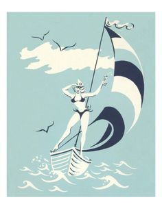 Woman on Sailboat Poster at AllPosters.com