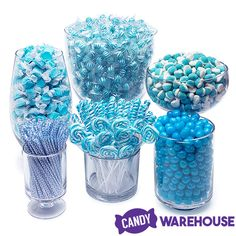Need a candy buffet to spice up your wedding or holiday party but don't know where to start? Use Candy Warehouse's buffet builder to make your candy bar a hit! Cadeau Baby Shower, Deco Baby Shower, Shower Bebe, Baby Shower Themes, Baby Boy Shower, Baby Shower Decorations, Shower Ideas, Blue Candy Table, Blue Candy Bars