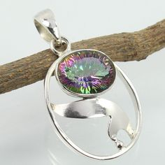 925 Sterling Silver Stylish Pendant Genuine MYSTIC QUARTZ Gemstone ! Best Gift #SunriseJewellers #Pendant