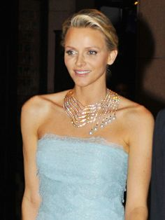 Her Serene Highness Princess Charlene of Monaco wears the necklace Infinite Cascade by Tabbah.