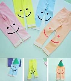 Smiley Leggings for girls 2-6. Cool kids fashion, play ready style at Color Me WHIMSY.