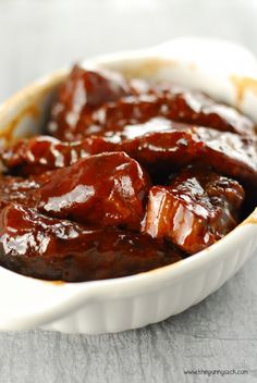 This slow cooker barbecue ribs recipe is an easy dinner idea. BBQ ribs made in a crock pot are fork tender, moist and full of flavor!