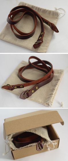 Vintage camera strap handmade for DC Dark Brown Leather cowhide Strap: