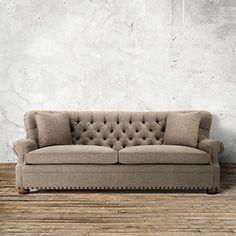 """Beacon 96"""" Tufted Upholstered Sofa In Hobbs Sandstone"""