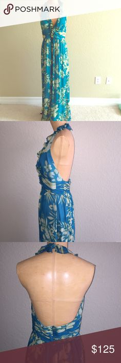 100% Silk Kay Unger Gown Backless halter gown. Back zip. Very long. Would fit bust up to a 36D. Lined. Very small snags (see photos) Not even noticeable with the pattern of dress. Price reflects condition Kay Unger Dresses Prom
