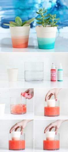 Горшок можно покрасить интересным способом, создав эффект деграде. Для этого краску добавляют в воду, затем горшок несколько раз погружают в нее на разное количество времени.