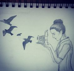Girl drawing with birds