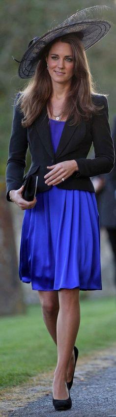 Kate Middleton  custom blue Issa dress with black blazer