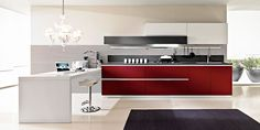 Cozinha lacada com península MAGIKA Composition 02 by Pedini Modern Kitchen Island, Island Design, Kitchen Furniture, Kitchen Cabinets, House Design, Interior, Linear System, Home Decor, Composition