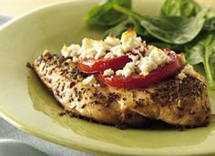 Feta and Roma topped Chicken.I Feta! Very easy and yummy, but I'm the only one in the house who likes Feta ; New Recipes, Cooking Recipes, Favorite Recipes, Healthy Recipes, Healthy Dinners, Healthy Foods, Recipies, Dinner Recipes, Keto Foods